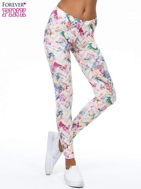 Kolorowe legginsy z pastelowym nadrukiem