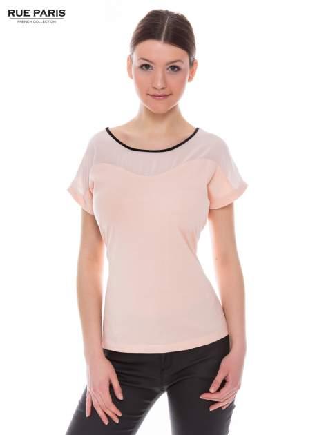 Koralowy t-shirt z siateczkową górą i kontrastową lamówką