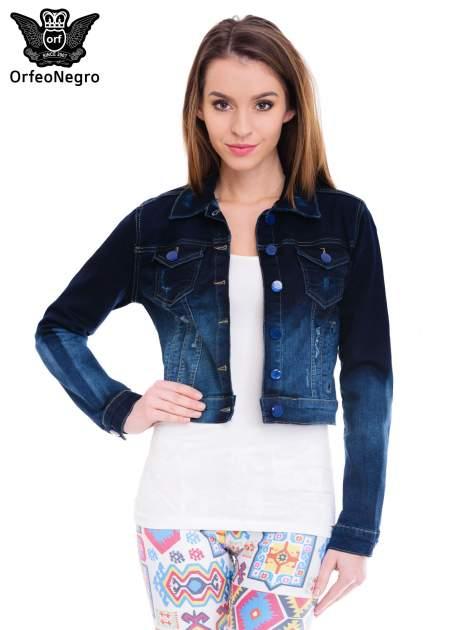 Kurtka jeansowa damska z efektem ombre w kolorze indygo
