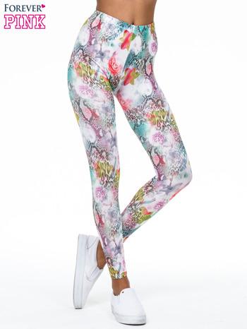Kwiatowe legginsy w różnobarwne wzory