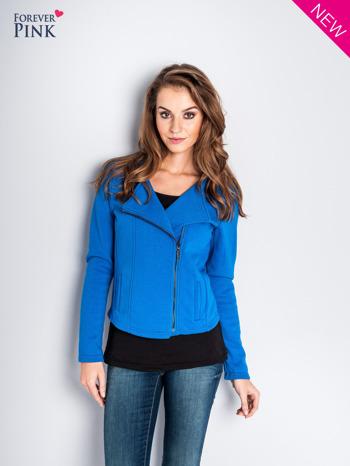 Niebieska bluza o kroju ramoneski z asymetrycznym suwakiem