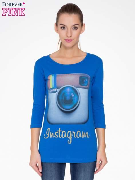 Niebieska bluzka z nadrukiem loga Instagrama