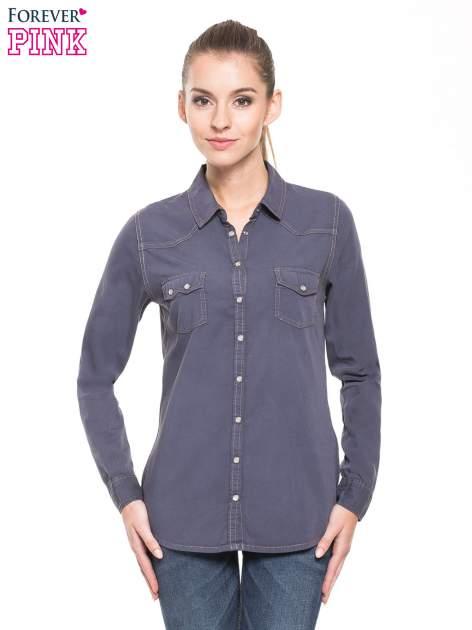 Niebieska klasyczna koszula jeansowa z długim rękawem