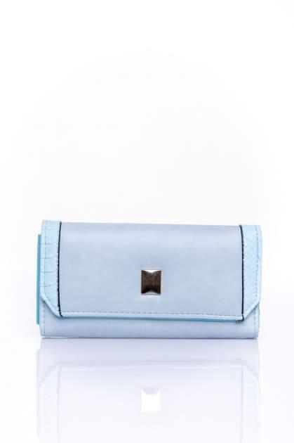 Niebieski portfel z motywem skóry aligatora