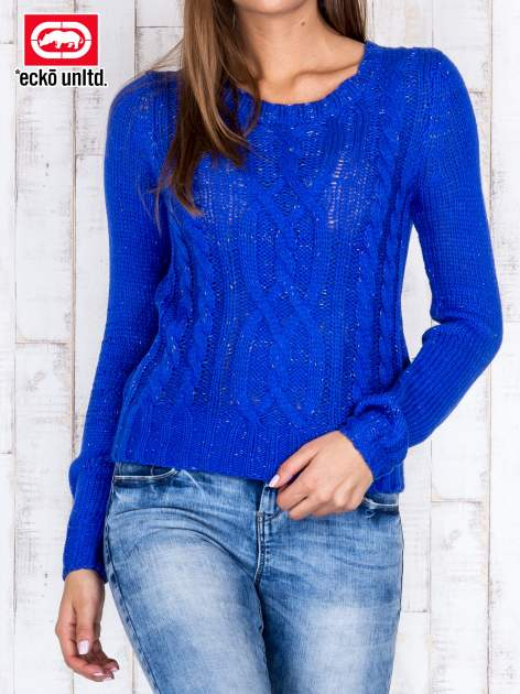 Niebieski sweter ze srebrną nicią