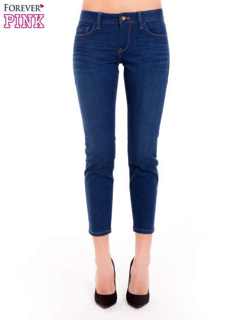 Niebieskie jeansy skinny ze średnim stanem