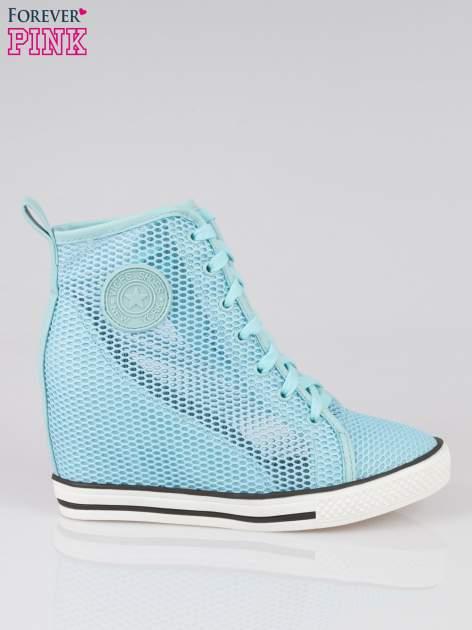 Niebieskie siateczkowe sneakersy damskie