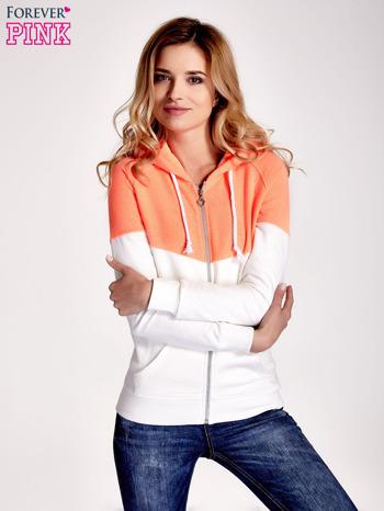 Pomarańczowa bluza z białym pasem