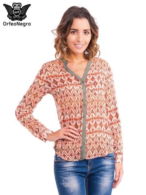 Pomarańczowa koszula w etniczne wzory z kontrastową listwą