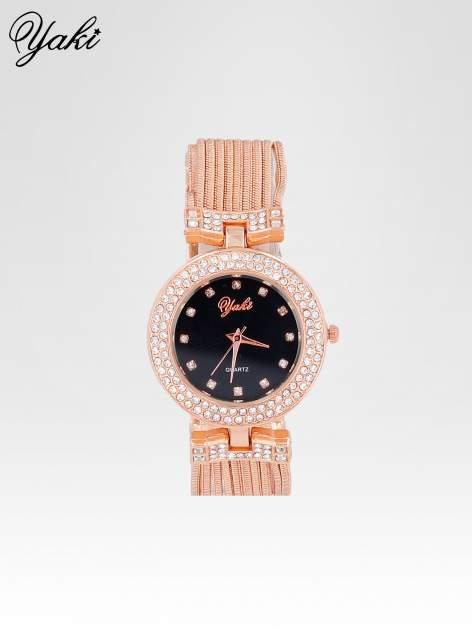 Różowozłoty zegarek damski na bransolecie z łańcuszków z czarną  tarczą
