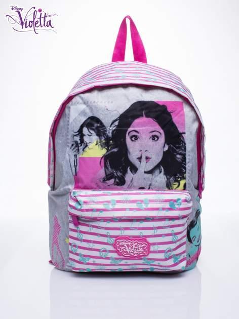 Różowy plecak szkolny w paski DISNEY Violetta