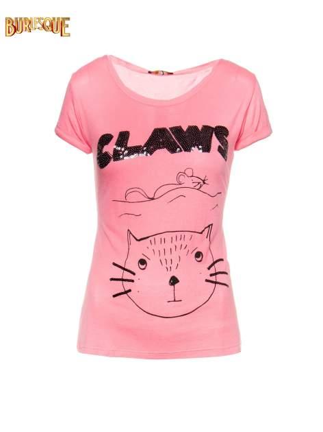 Różowy t-shirt z nadrukiem kota i myszy