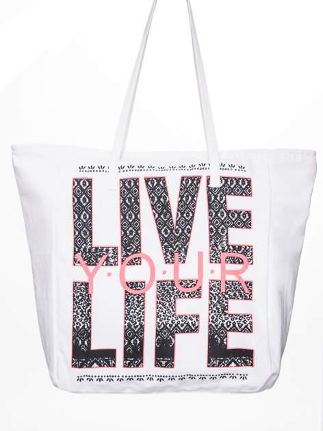 STRADIVARIUS Białe ekotorba typu shopper bag z napisem LOVE YOUR LIFE