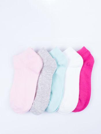 Skarpetki damskie stopki gładkie różne kolory mix 5 par