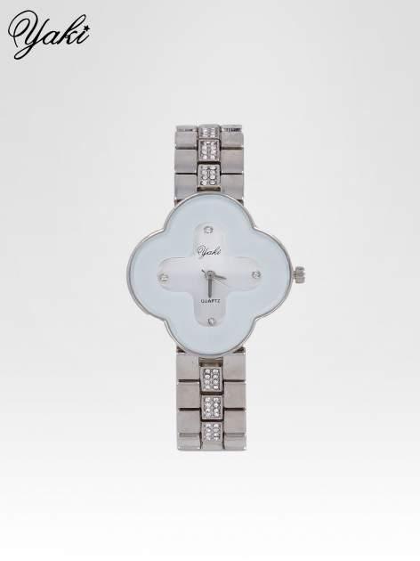 Srebrny zegarek damski na bransolecie z białą tarczą koniczyną