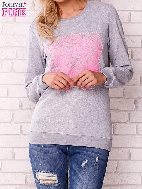 Szara bluza z kolorowym nadrukiem