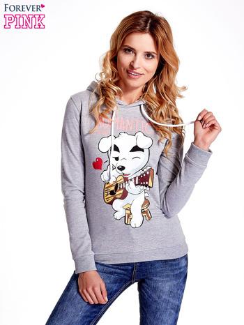 Szara bluza z nadrukiem psa