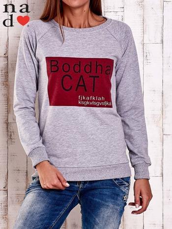 Szara bluza z napisem BODDHA CAT