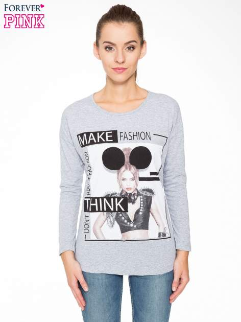 Szara bluzka w stylu fashion