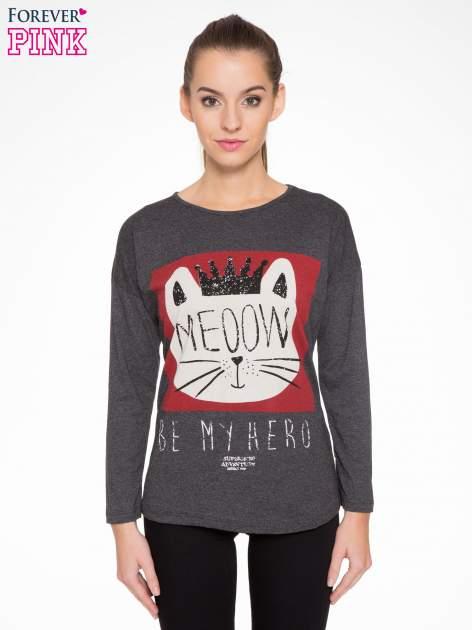 Szara bluzka z nadrukiem kota z koroną i napisem MEOW
