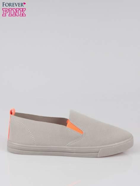Szare buty slip on z fluo gumką
