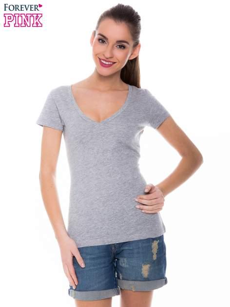 Szary basicowy t-shirt z dekoltem w serek