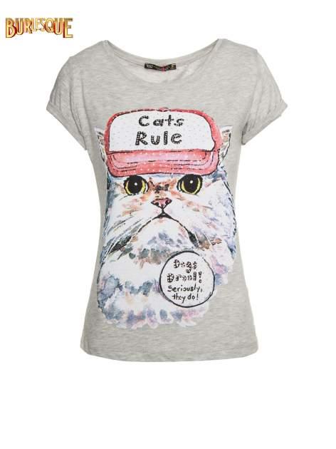 Szary t-shirt z nadrukiem kota i napisem CATS RULE