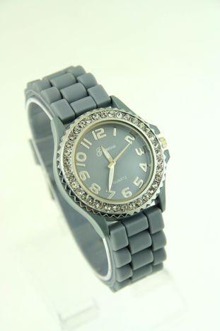 Szary zegarek damski na silikonowym pasku