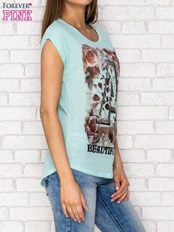 Turkusowy siateczkowy t-shirt z literą A z dżetami