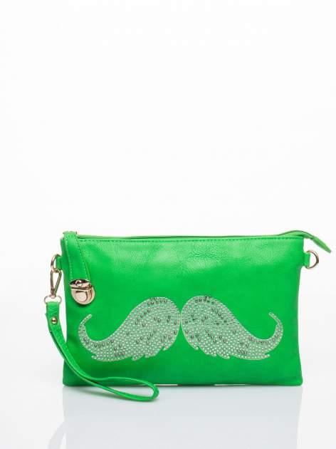 Zielona kopertówka z dżetami motyw wąsów