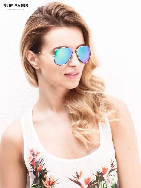 Zielone pilotki moro soczewki lustrzne zielono/niebieskie okulary przeciwsłoneczne unisex AVIATORY
