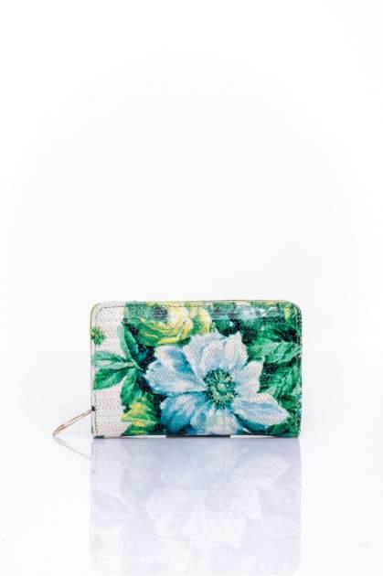 Zielony portfel z kwiatowym nadrukiem
