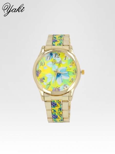 Złoty zegarek damski na bransolecie z żółtym motywem kwiatowym