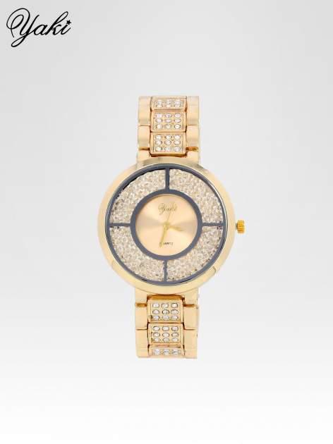 Złoty zegarek damski na bransolecie ze złotą cyrkoniową tarczą
