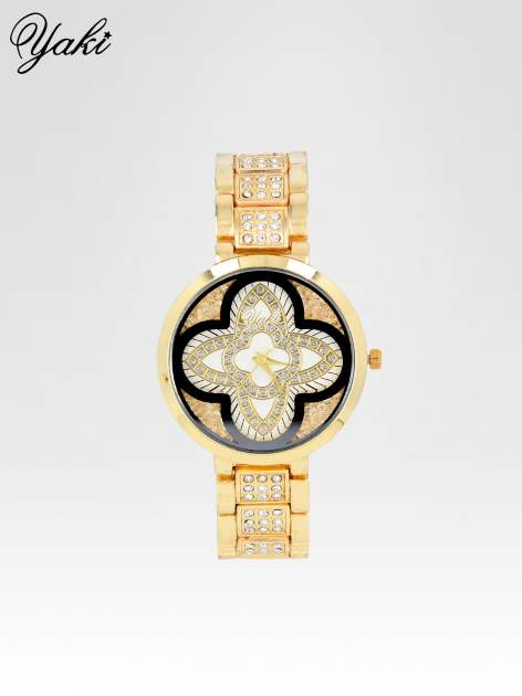 Złoty zegarek damski z motywem kwiatów na biżuteryjnej bransolecie