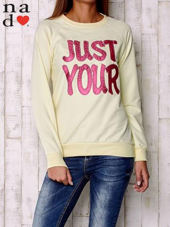 Żółta bluza z napisem JUST YOUR