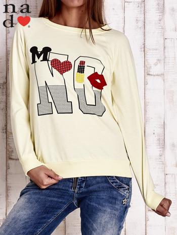 Żółta bluza z napisem NO
