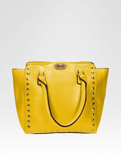 Żółta torebka na ramię z dżetami