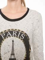 Beżowa bluza z nadrukiem wieży Eiffla