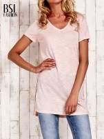 Beżowy długi t-shirt z rozporkami z boku