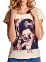 Beżowy t-shirt z nadrukiem SMILE FOR ME