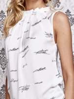Biała koszula z nadrukiem tekstowym