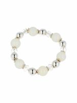 Biało - srebrna Bransoletka koralikowa