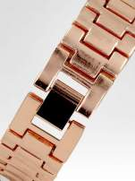 Biżuteryjny zegarek damski z różowego złota na bransolecie z cyrkoniami i perłami