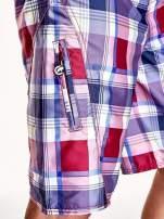 Bordowe szorty męskie w kratkę