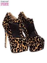 Botki leopard na platformie i obcasie