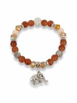 Brązowo - srebrna Bransoletka koralikowa