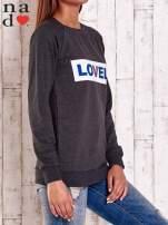 Ciemnoszara bluza z napisem LOVELY