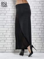 Ciemnoszara spódnica maxi z tiulową wstawką