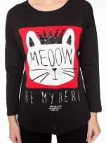 Czarna bluzka z nadrukiem kota z koroną i napisem MEOW